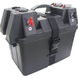 Battery Box with pre wired Leads DC Sockets and Battery Level Indicator